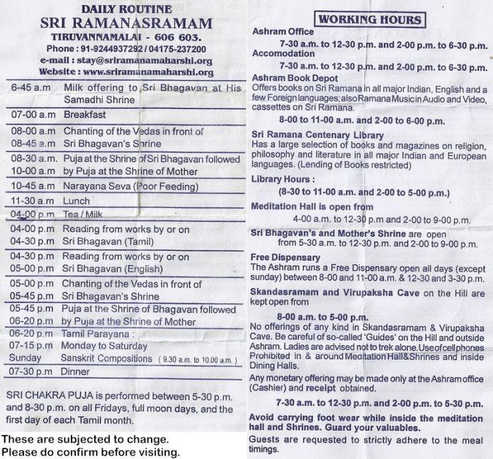 Leaflet of Daily Routine Sri Ramanashramam Schedule.